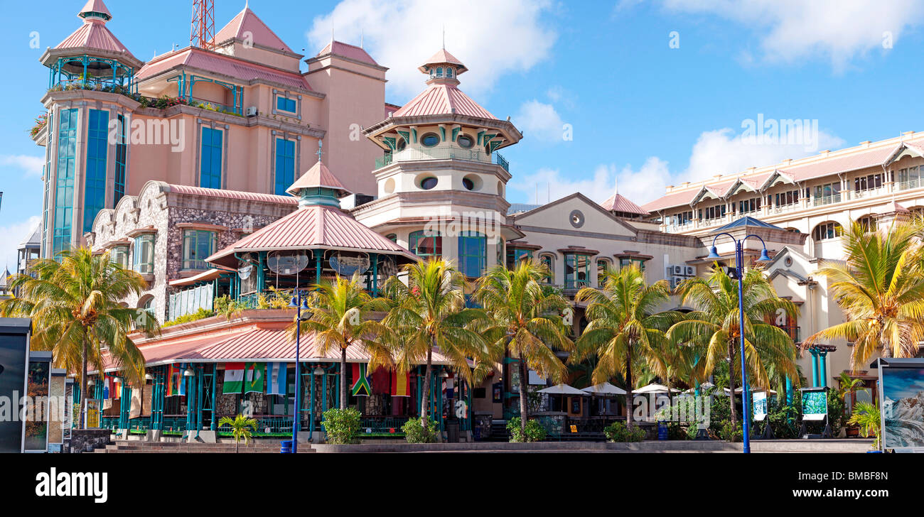Commercial buildings restaurants offices cinema at caudan stock photo royalty free image - Restaurant port louis ile maurice ...