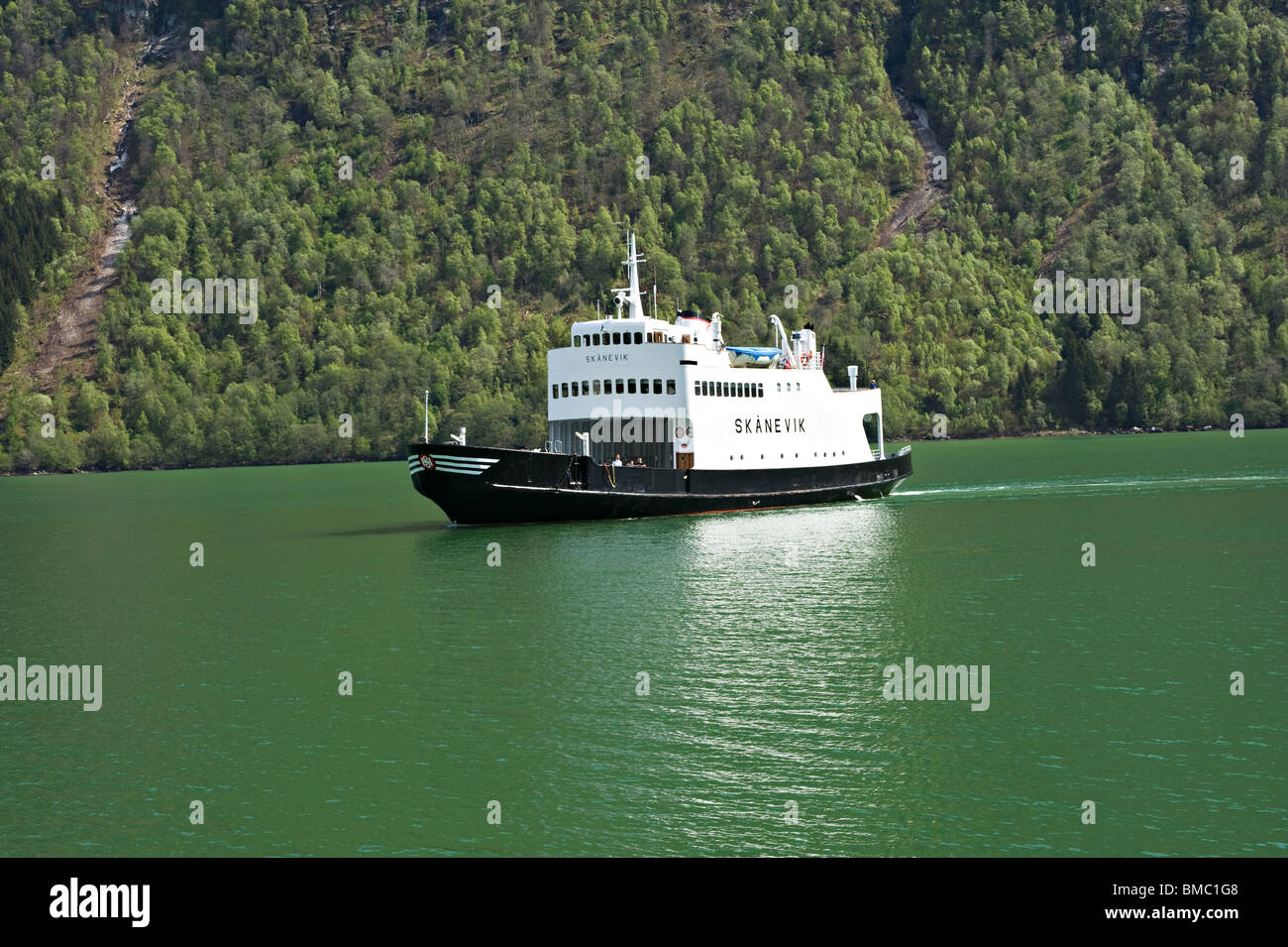 Car ferries sognefjord norway - Stock Photo The Small Norwgian Car Ferry Skanevik Arriving At Mundal Terminal Fjaerland Fjaerlandsfjord Sognefjord Norway