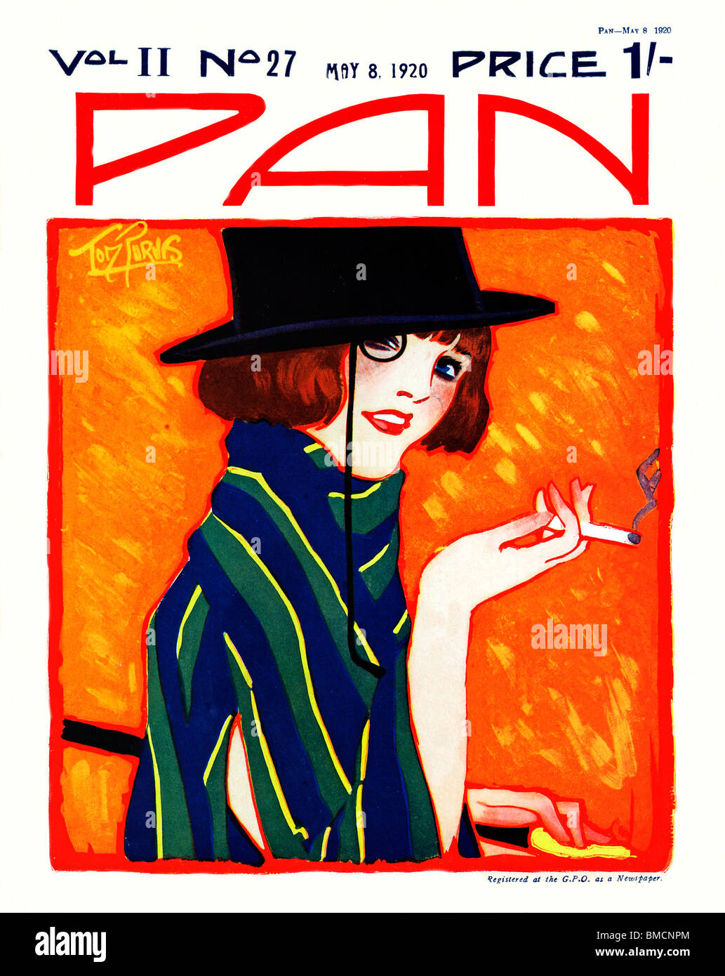 Pan 8 may 1920 art deco cover of the english literary for Magazine deco