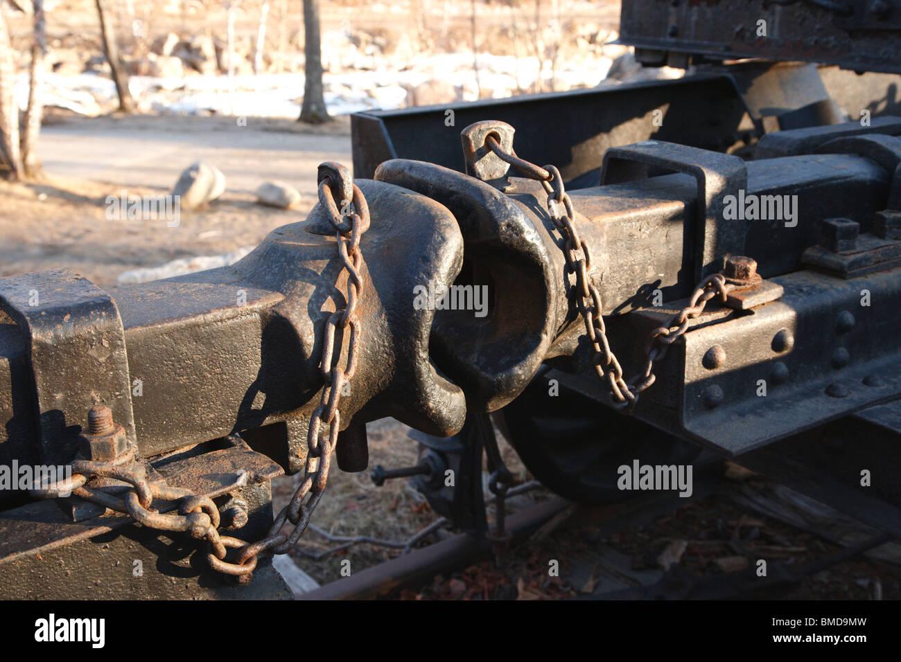 Link And Pin Coupler : Link and pin coupler of a log truck stock photo royalty
