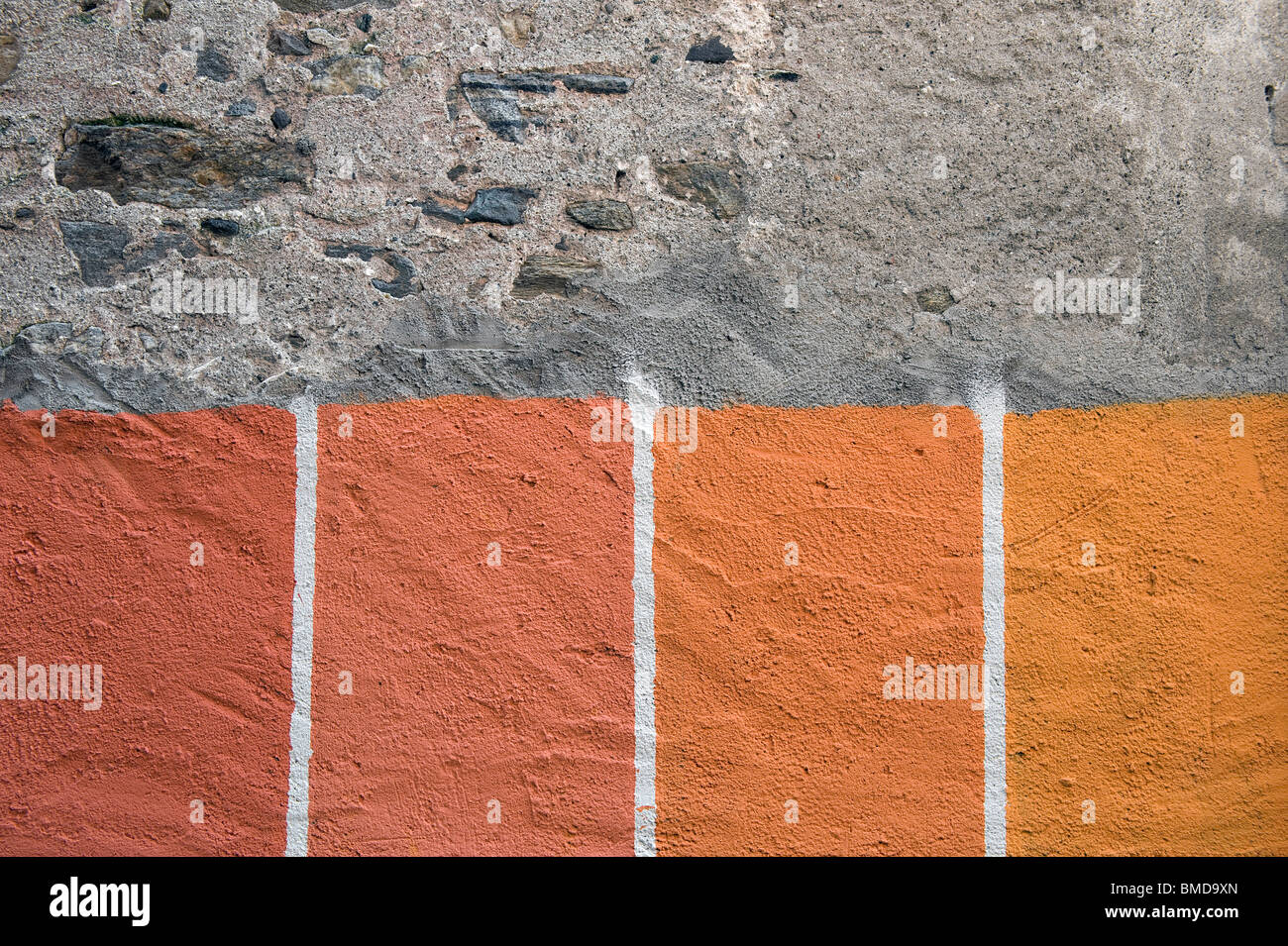 House in italian style house of samples - Stock Photo Paint Colour Samples On Italian House Exterior Wall
