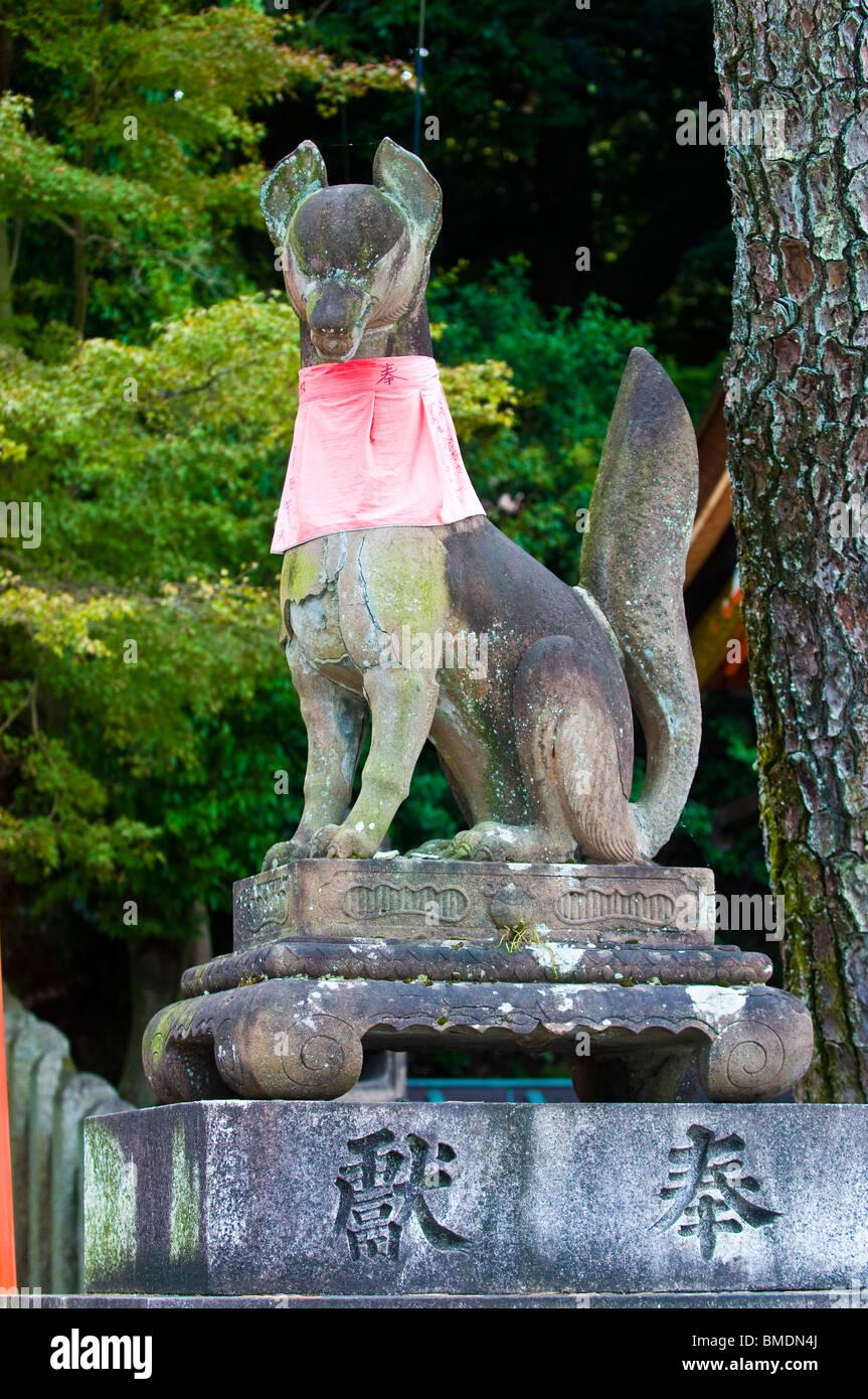Fox Statue In Japanese Shrine In Kyoto Japan
