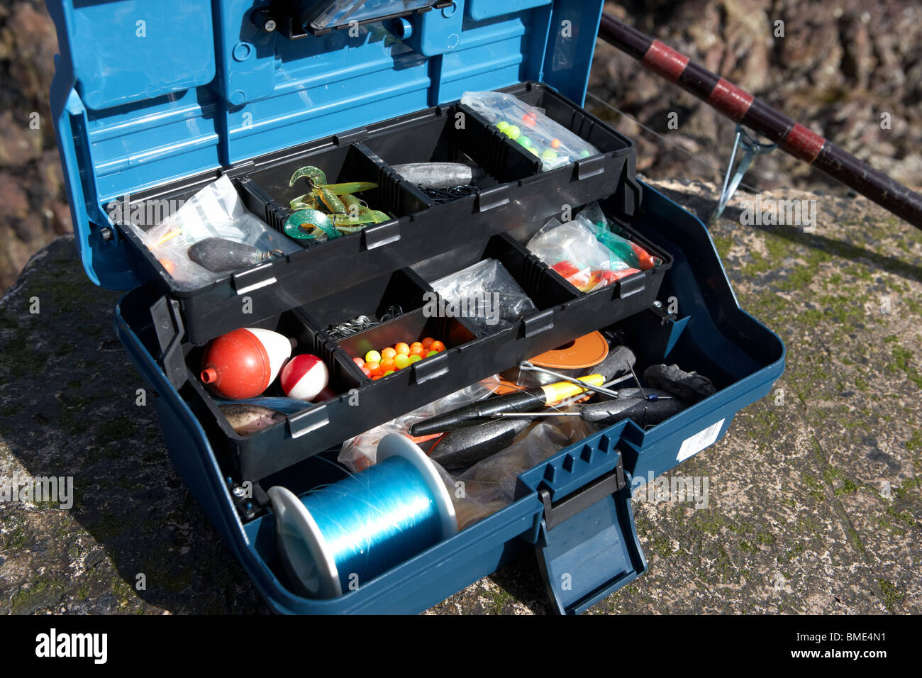 Fishing tackle box filled with sea fishing gear and rod uk for Ocean fishing gear