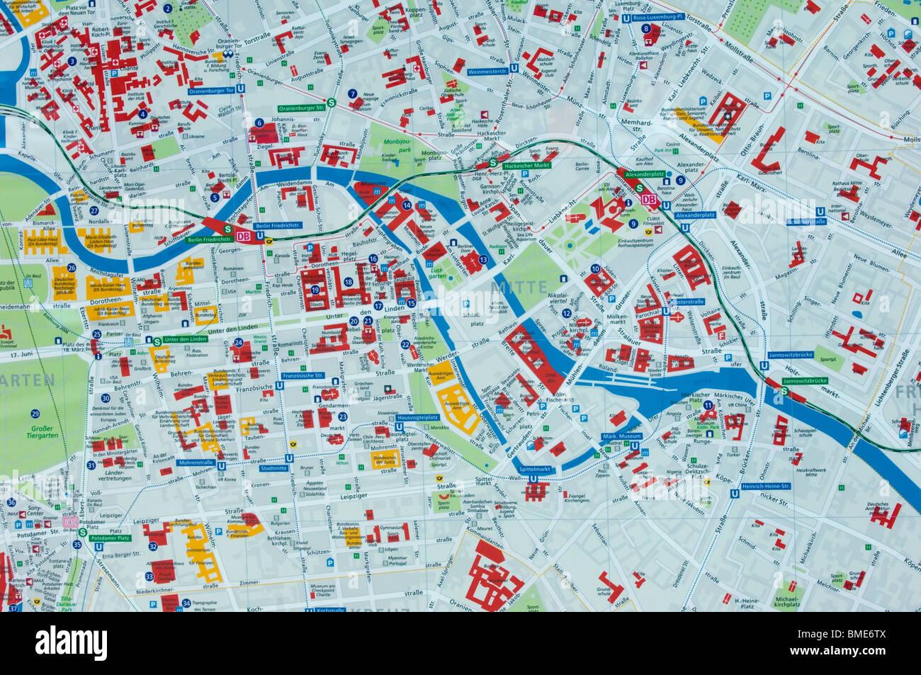 Berlin Mitte Information Map Berlin City Germany Stock Photo - Berlin mitte map