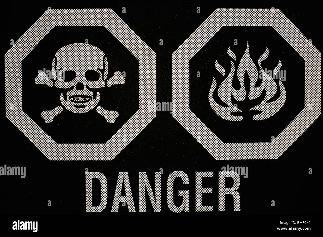 Poison and flammable symbols on a label saying danger stock photo poison and flammable symbols on a label saying danger buycottarizona