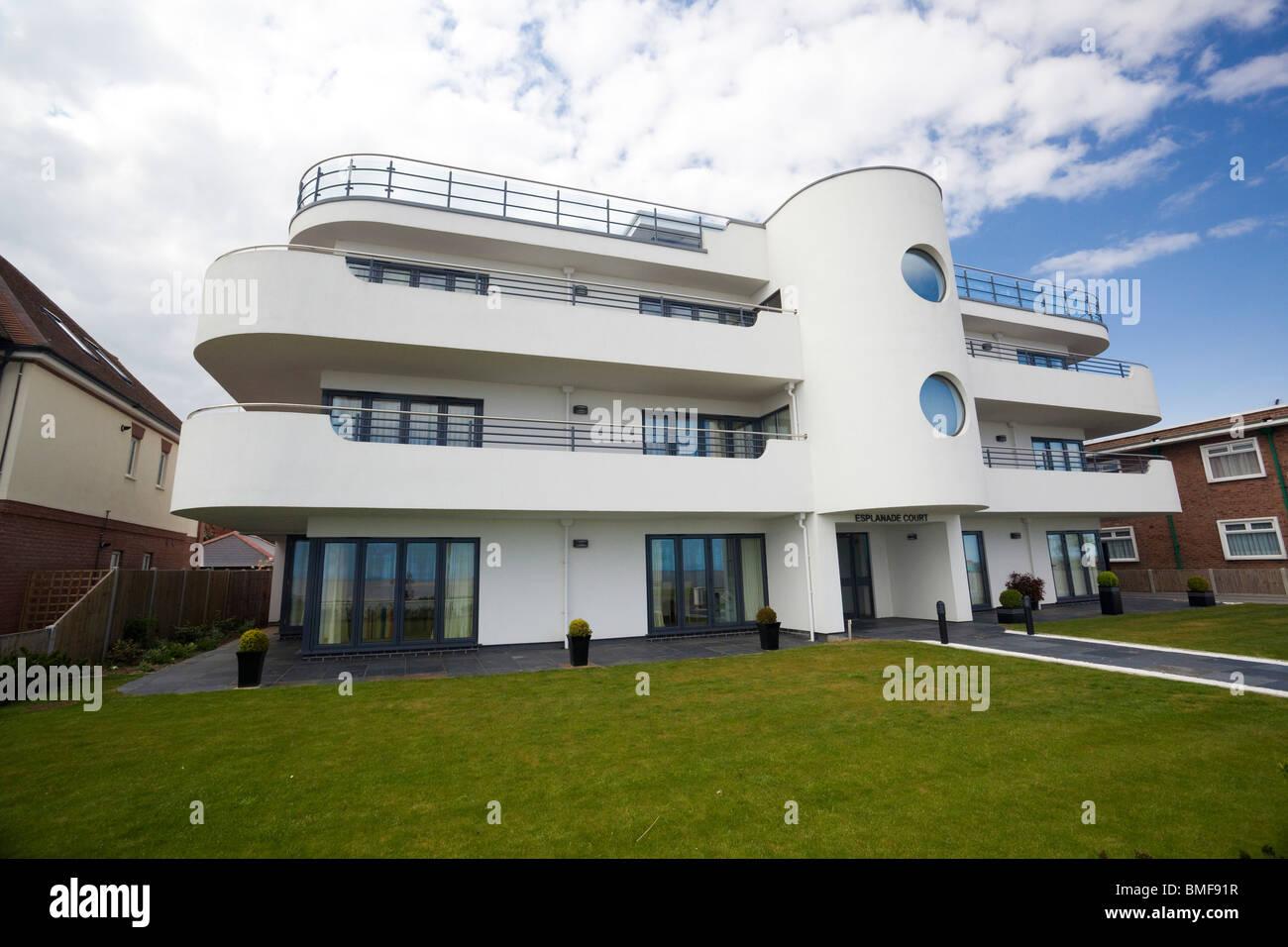modern art deco style house at frinton on sea, essex, uk stock