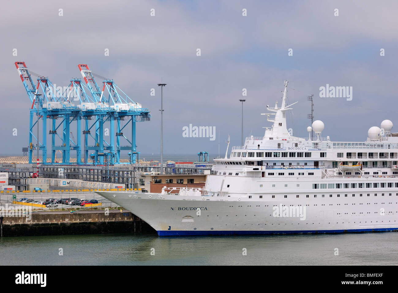 Cruise ship and container terminal cranes of the port of zeebrugge stock photo royalty free - Where is zeebrugge ferry port ...