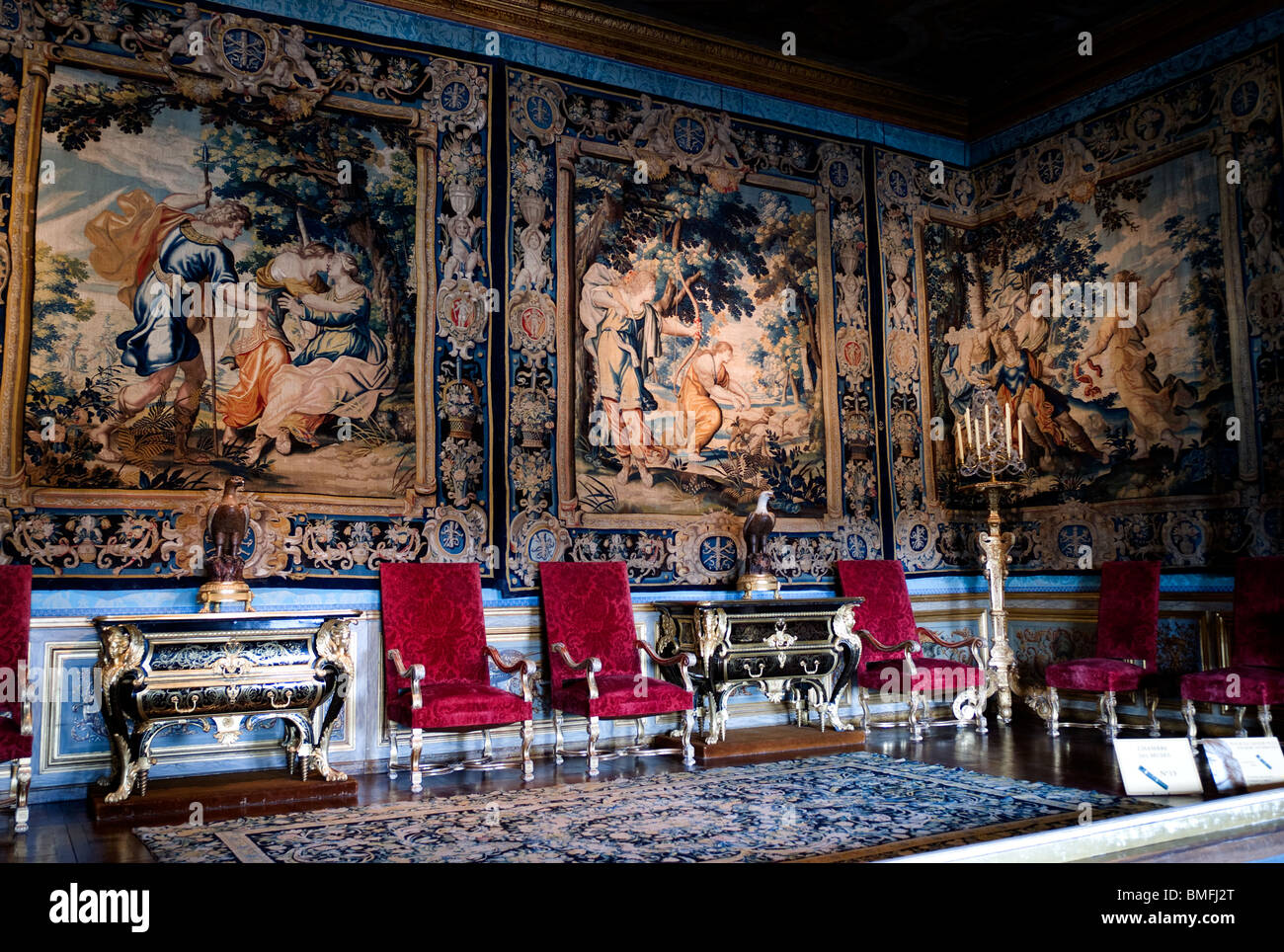 interior, vaux-le-vicomte castle (17c), france stock photo