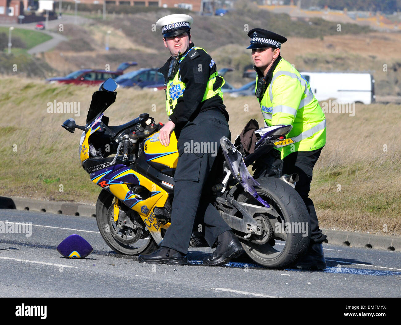 Police Motorcycle At Incident Crash Officers Remove The Wreckage Of A Crashed Motorbike From Road
