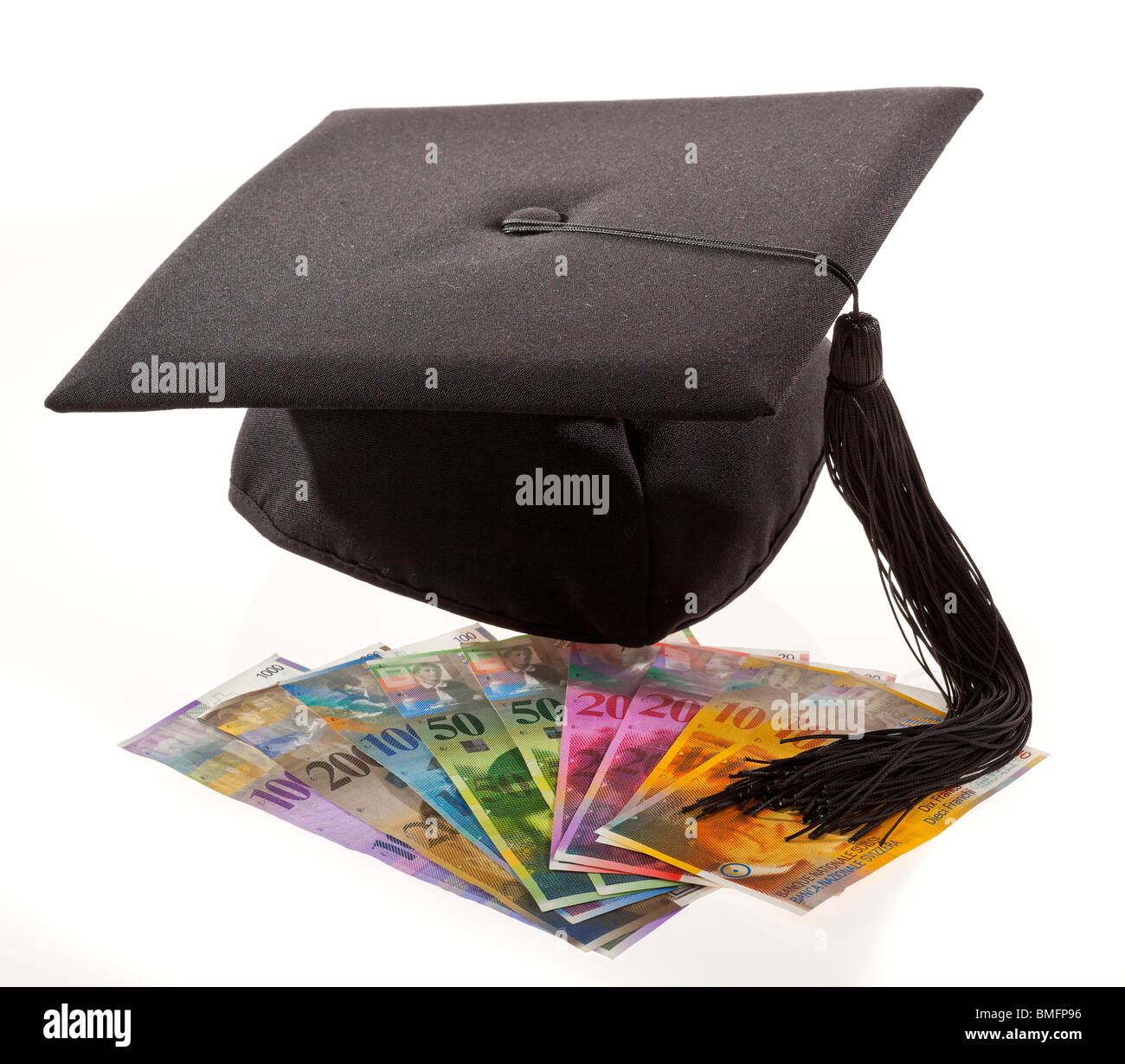 Mortarboard and swiss franc symbol for education costs stock photo mortarboard and swiss franc symbol for education costs buycottarizona Images