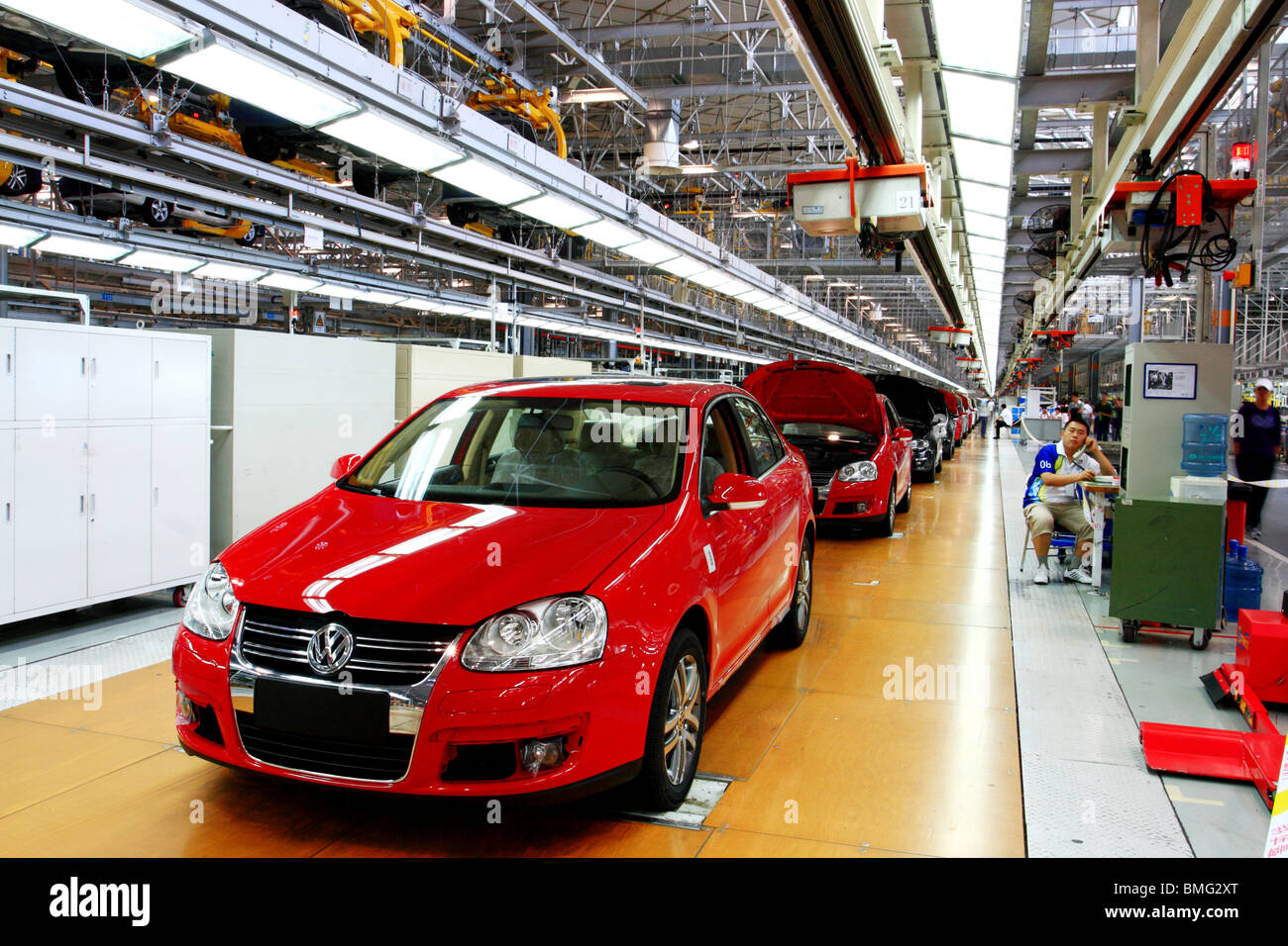 Cars on assembly line, First Automobile Works, Changchun, Jilin ...