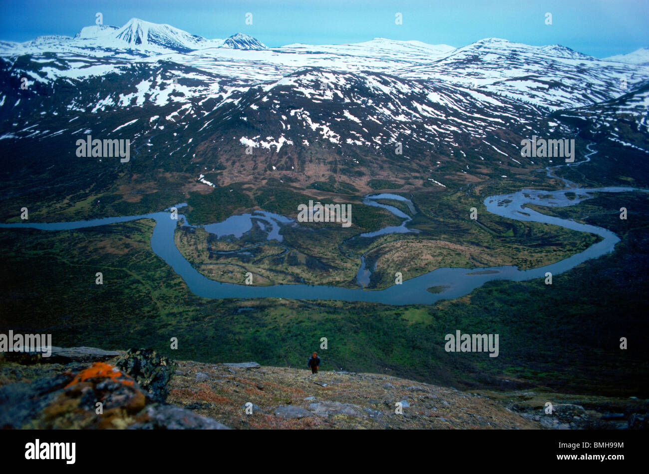 Hiker Trekking Or Backpacking In The Scandinavian Mountains Of - Sweden map trekking