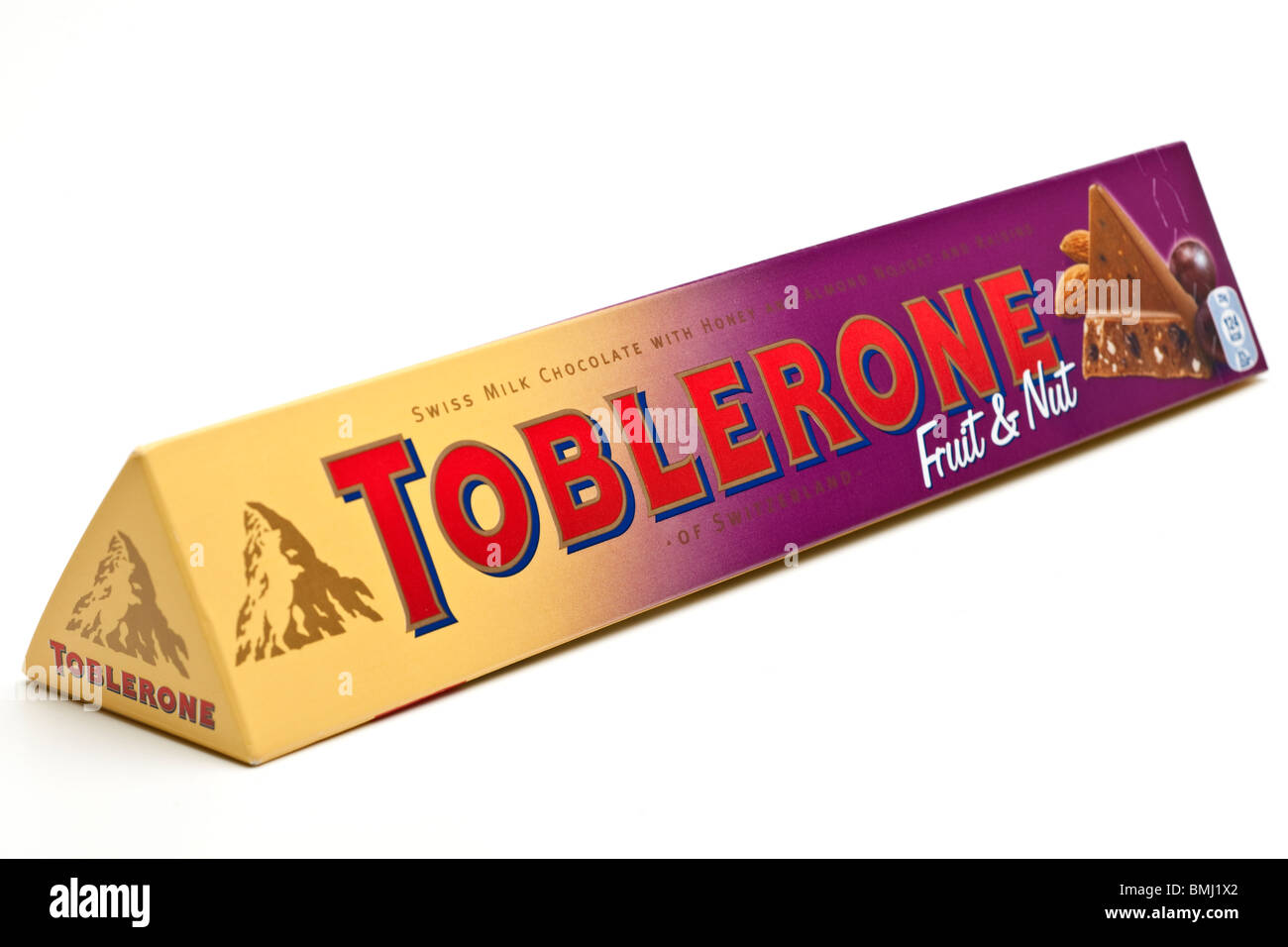 Bar of Toblerone fruit and nut chocolate bar Stock Photo, Royalty ...