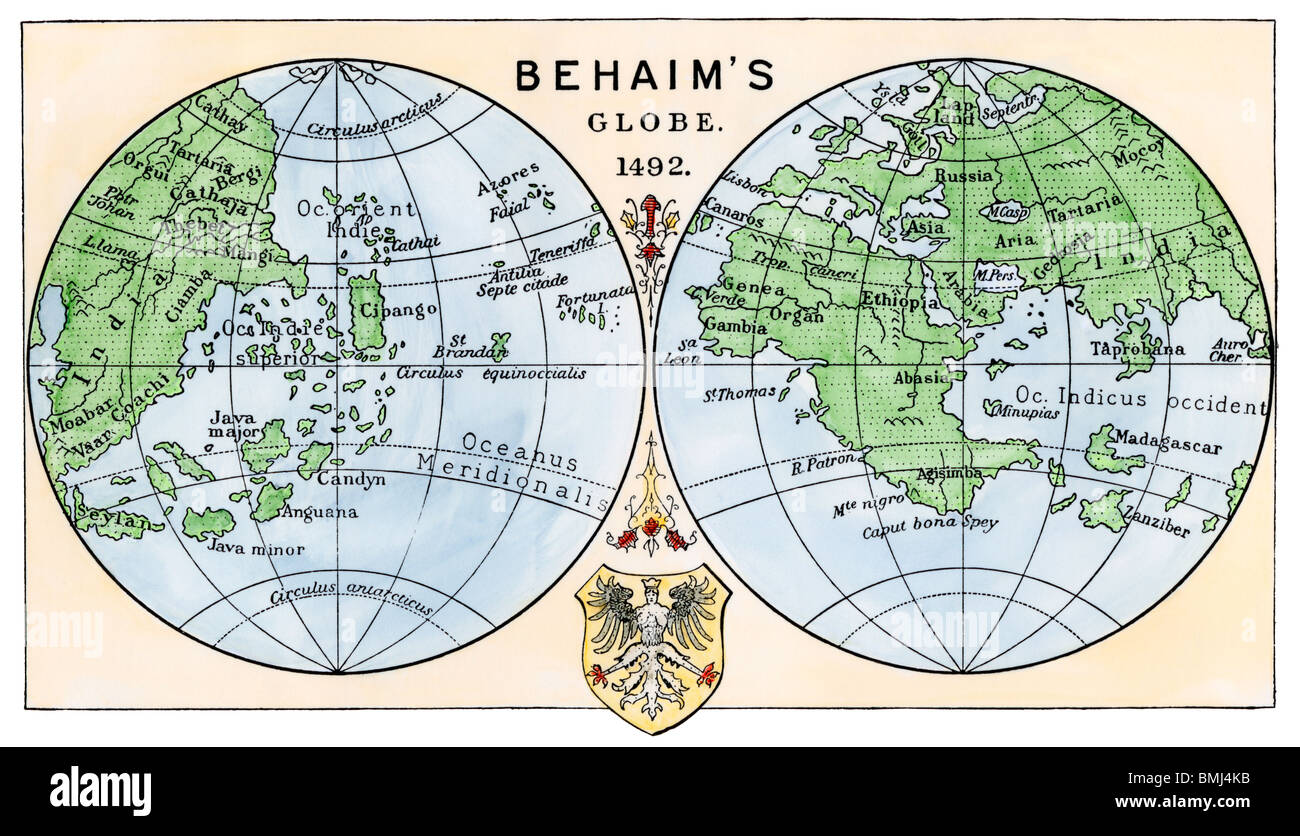 Diagram of globe by Martin Behaim, without the New World, created ...