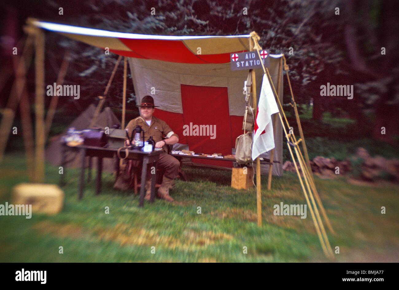 World War II military reenactor medical tent & World War II military reenactor medical tent Stock Photo Royalty ...