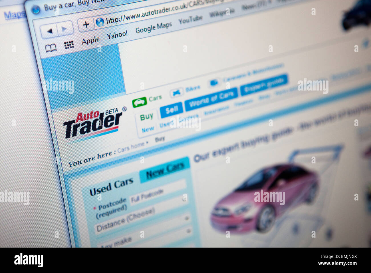Close up of a computer monitor / screen showing the Auto Trader ...