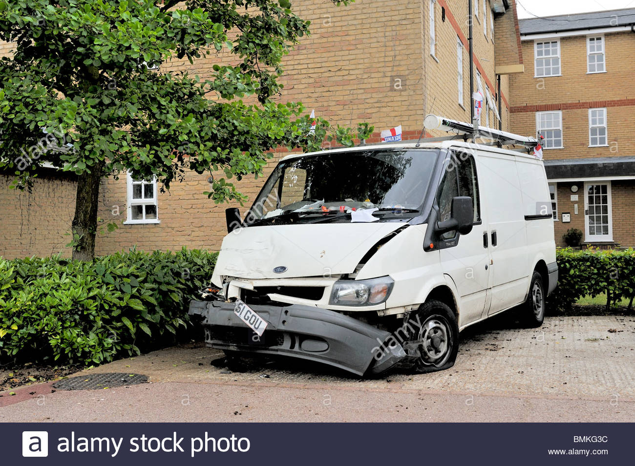 A ford transit van badly damaged stock image