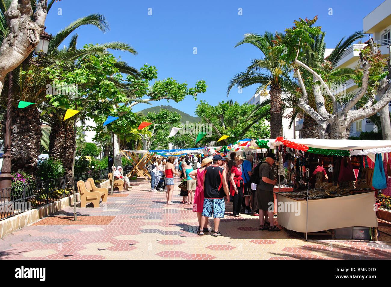 Street market stalls passeig de s 39 alamera santa eularia des riu stock photo royalty free - Santa eularia des riu ...