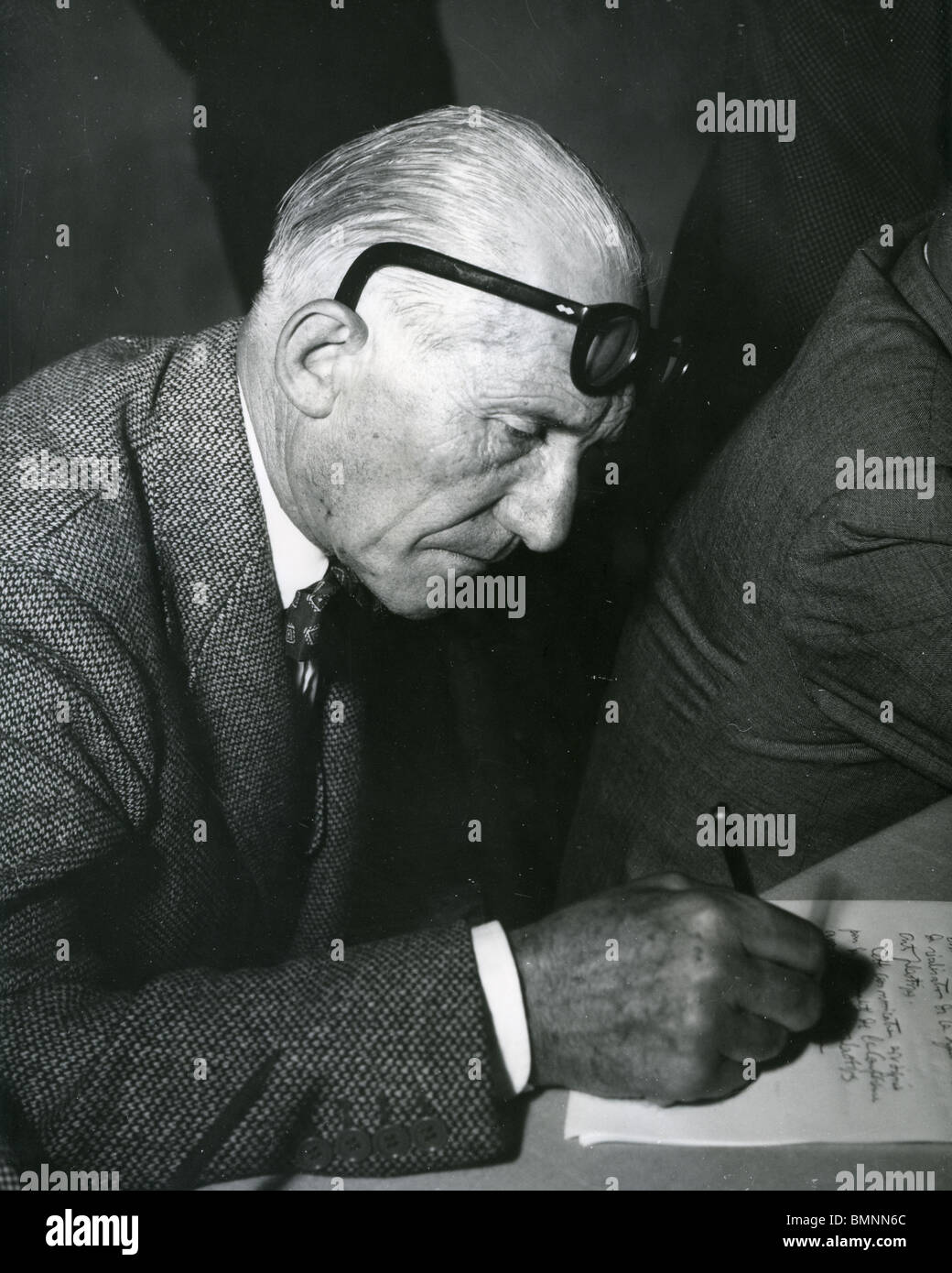 French Architect le corbusier - swiss-french architect in 1965 stock photo, royalty