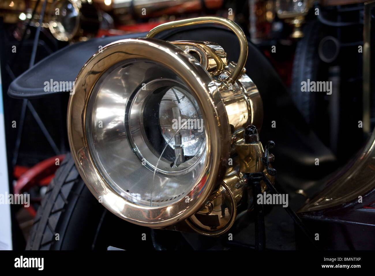 Antique Brass Car Headlights : Brass headlamps on vintage car beaulieu motor museum uk