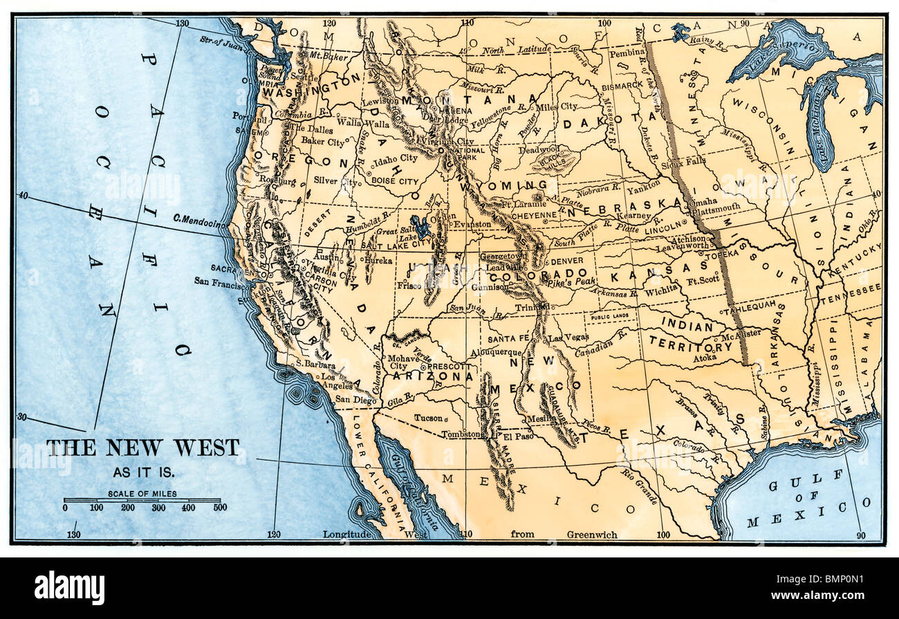 Map Of The Western Frontier In The United States S Stock - Us map bmp