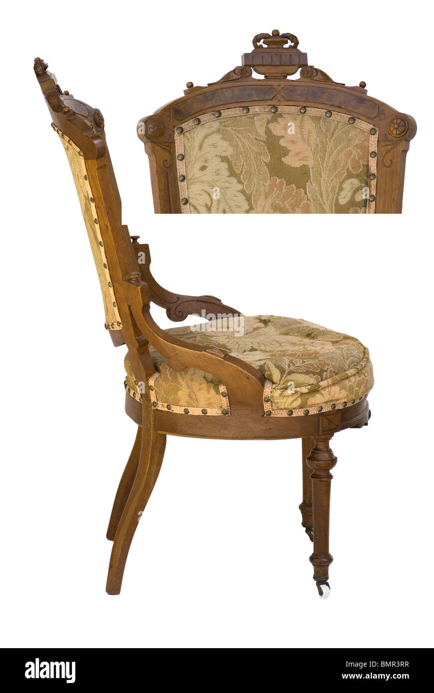 Eastlake Victorian period side & top view of antique upholstered wood carved  chair - Stock Photo - Eastlake Victorian Antique Wood Carved Upholstered Chair From A Side