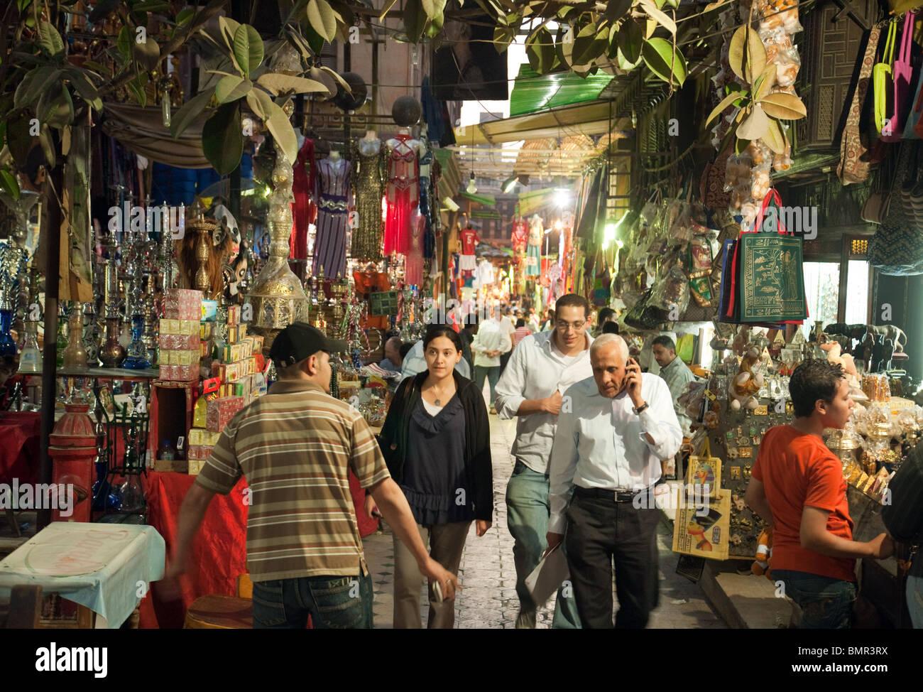 People Shopping In The Khan Al Khalili Market In Early