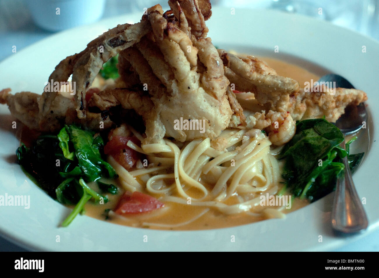 Softshell Crab Linguine With Crawfish Sauce Served At The Famous 'irene's  Cuisine' Crayfish Of