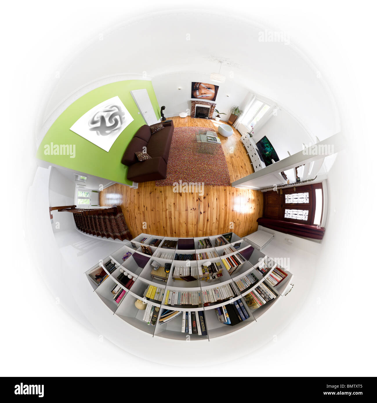 fisheye ultra wide angle lens image of a modern apartment in