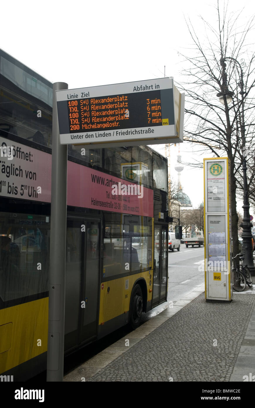 digital timetable sign at bus stop berlin germany stock photo royalty free image 30061766 alamy. Black Bedroom Furniture Sets. Home Design Ideas