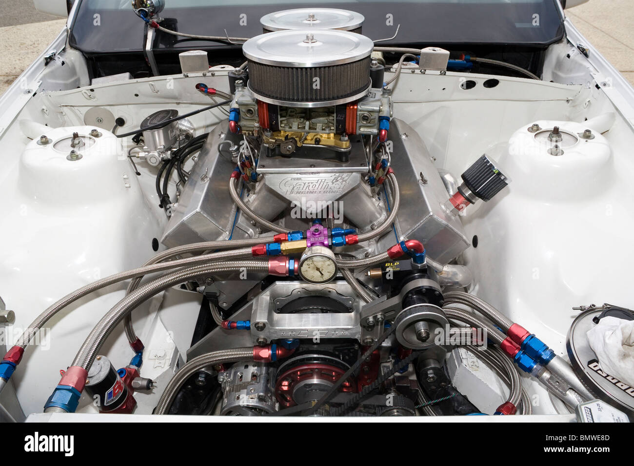 High Power V8 Drag Racing Engine Stock Photo Royalty Free