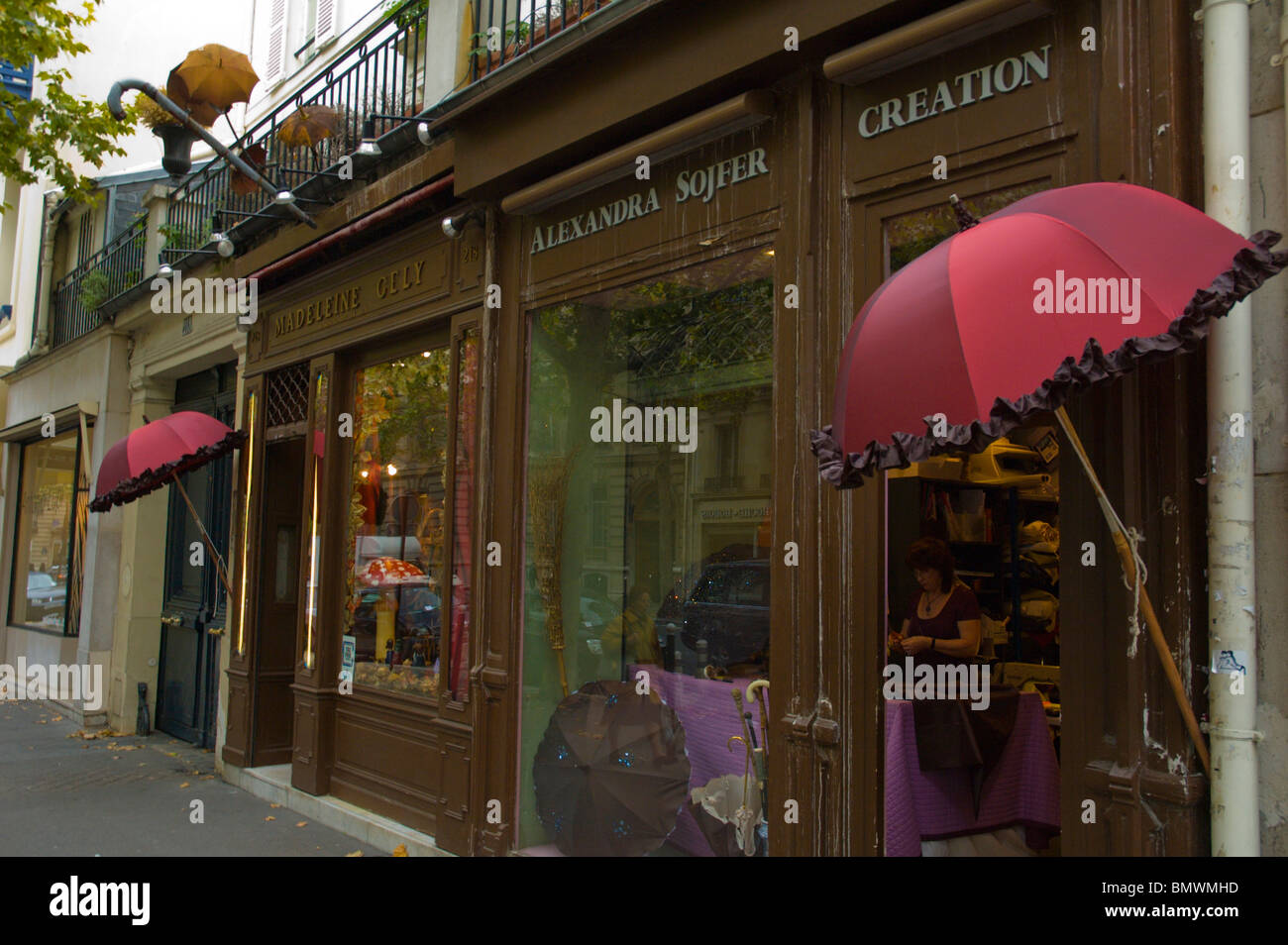 madeleine gely umbrella shop exterior st germain des pres central stock photo royalty free. Black Bedroom Furniture Sets. Home Design Ideas