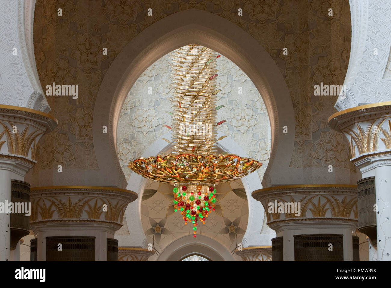 A huge gold plated chandelier at the sheikh zayed bin sultan al a huge gold plated chandelier at the sheikh zayed bin sultan al nahyan mosque grand mosque abu dhabi united arab emirates mozeypictures Image collections