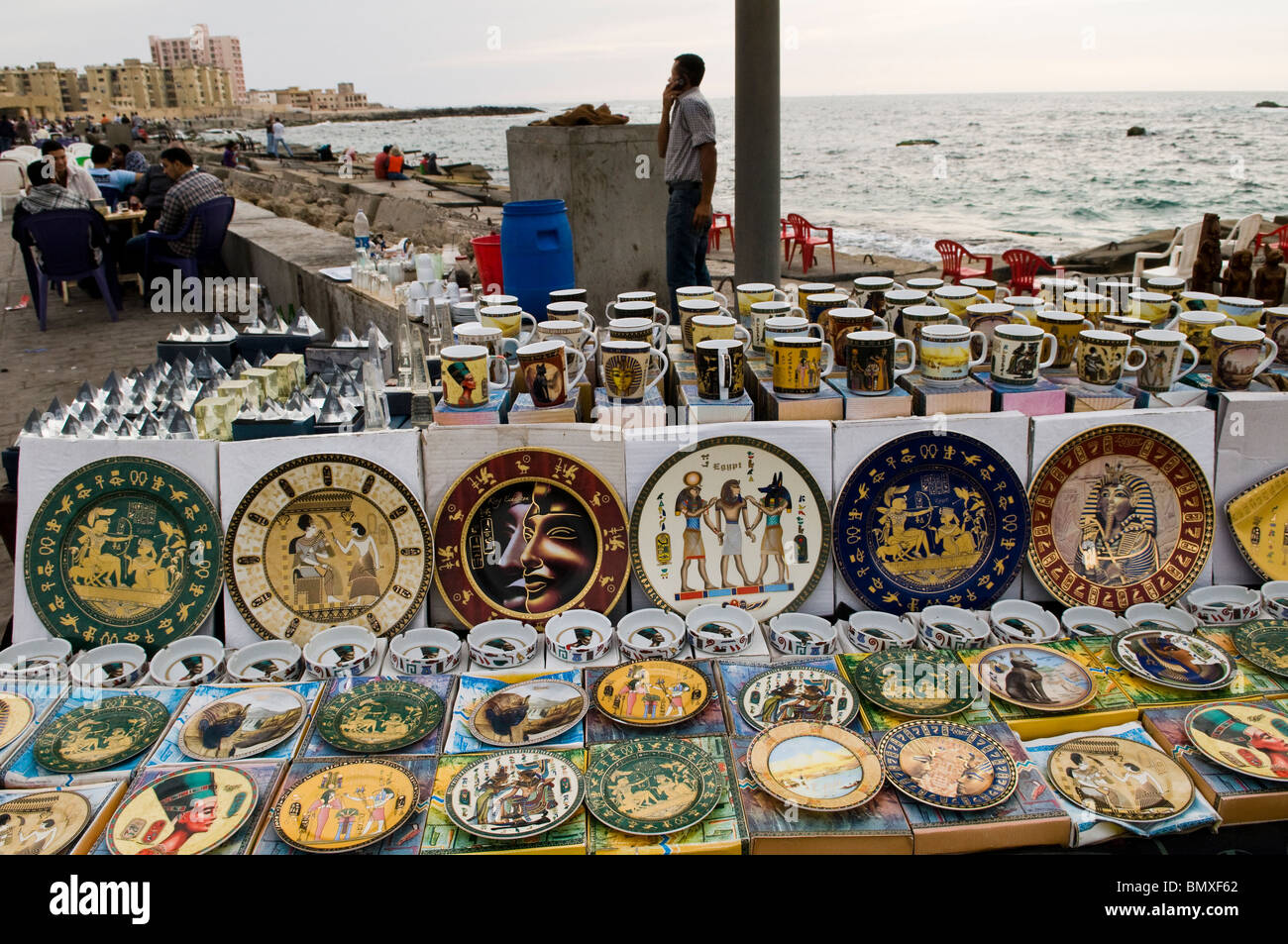 Souvenir Shop Displaying Ceramic Plates In Alexandria, Egypt  Stock Image