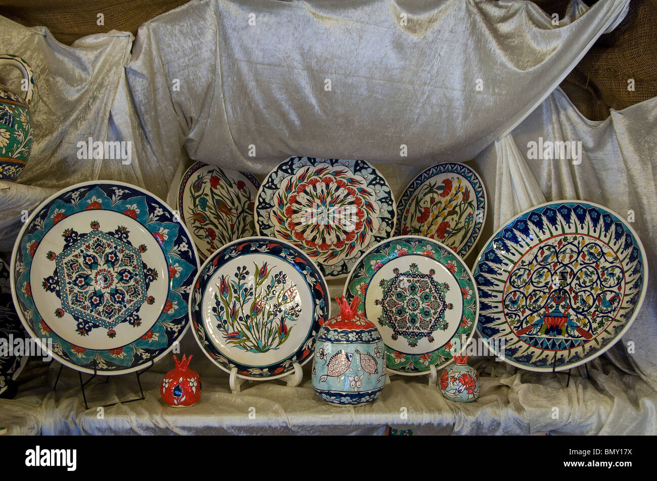 Handpainted ceramic plates at an armenian tile workshop east stock handpainted ceramic plates at an armenian tile workshop east jerusalem israel dailygadgetfo Images