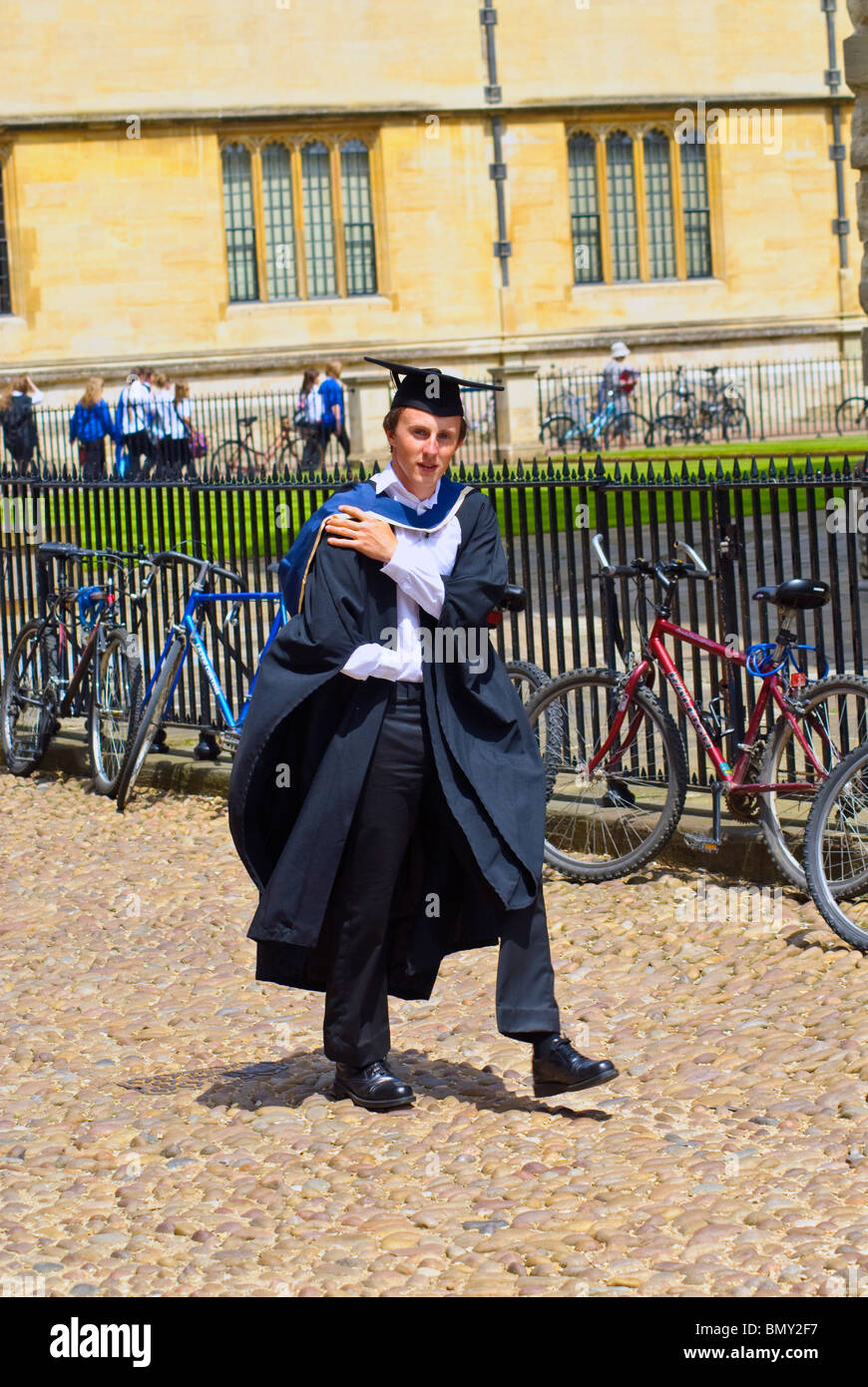 Oxford University student dressed in formal cape and gown Stock ...