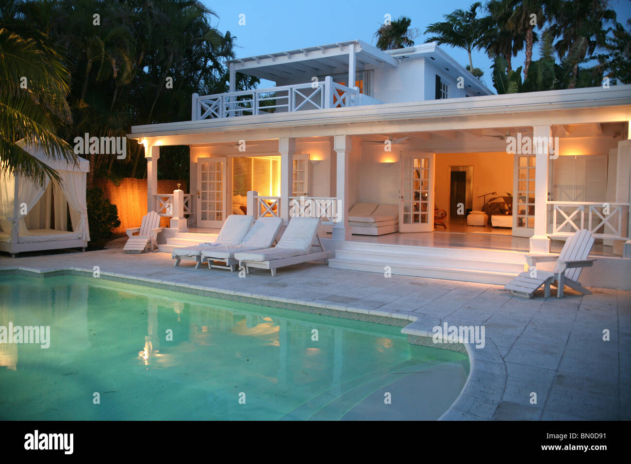 Back Yard Of House With Pool At Dusk Miami Florida Usa