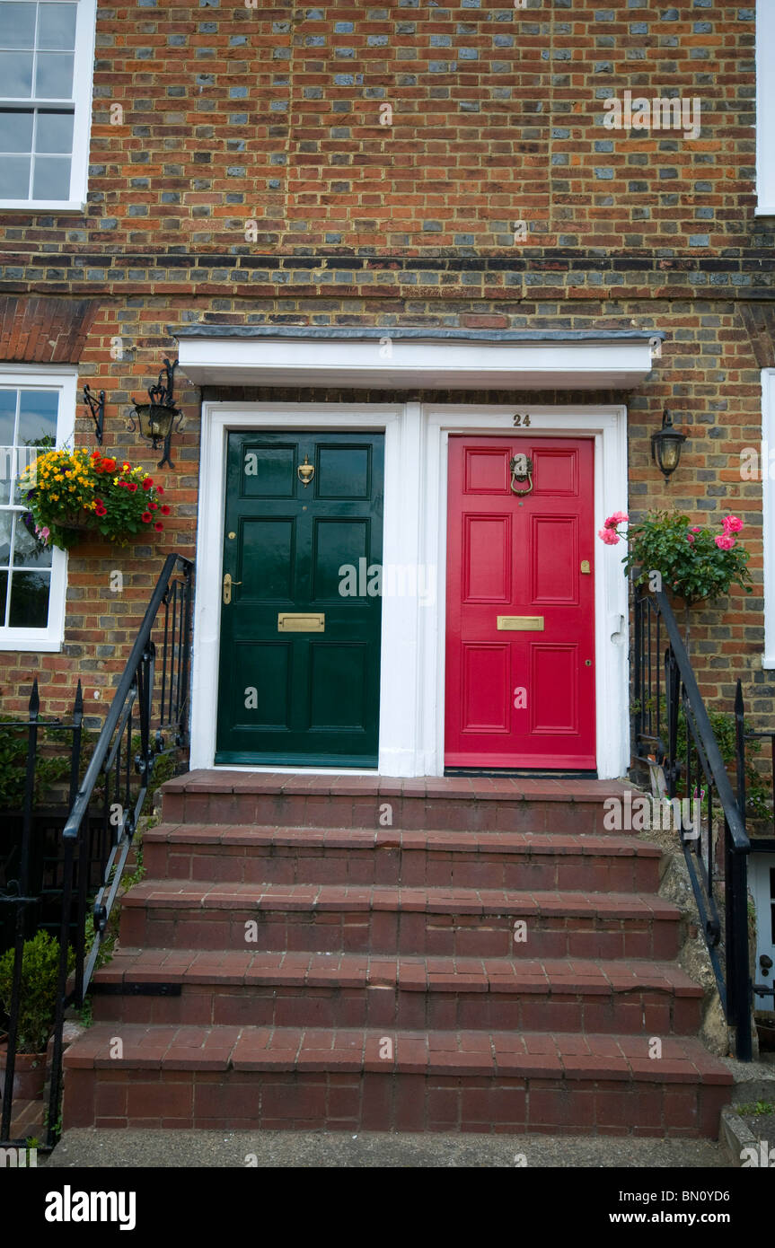 Aylesford Kent village countryside two front doors of houses black and one red & Aylesford Kent village countryside two front doors of houses black ...
