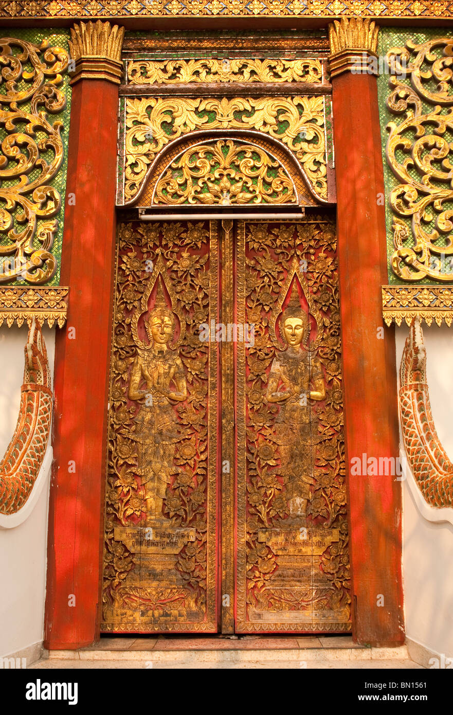 Door at Wat Fon Soi Buddhist temple in Chiang Mai Thailand. & Door at Wat Fon Soi Buddhist temple in Chiang Mai Thailand Stock ... Pezcame.Com