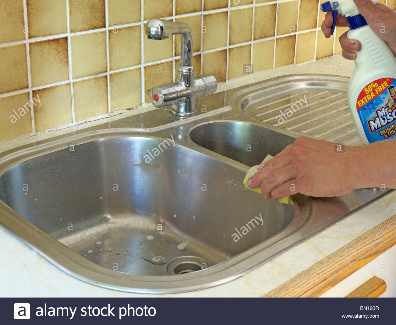 Man Cleaning Stainless Steel Kitchen Sink MODEL RELEASED Stock ...