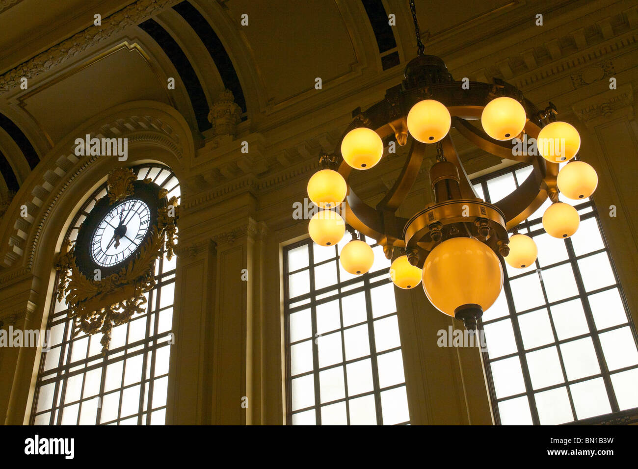 A train station clock and light fixture stock photo 30148829 alamy a train station clock and light fixture arubaitofo Image collections