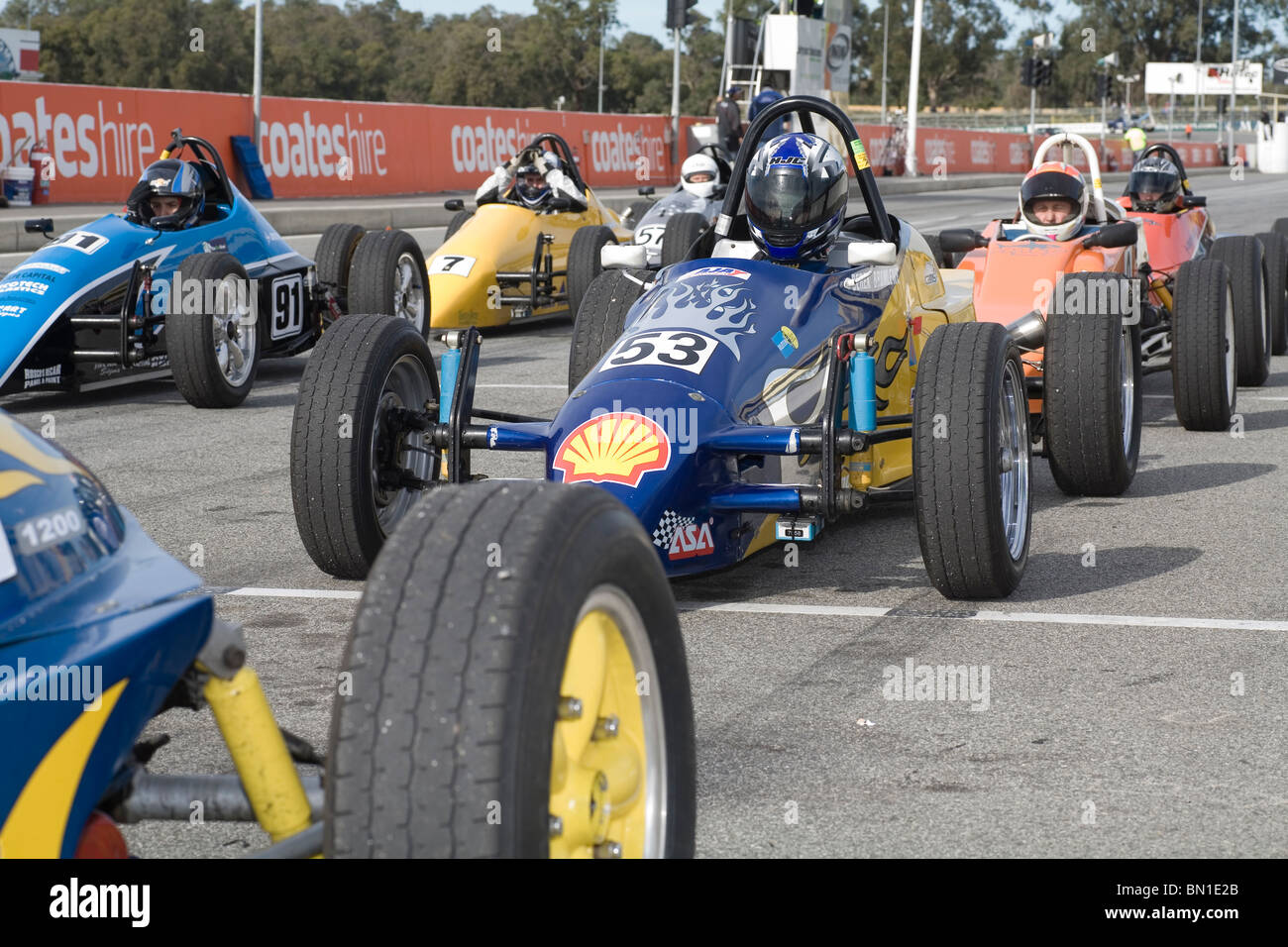 Race Cars Lined Up Stock Photos Race Cars Lined Up Stock Images