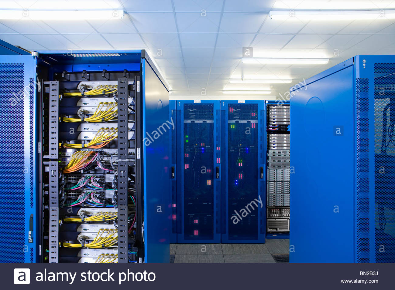 Server Room Photography : Mainframe computers in network server room stock photo