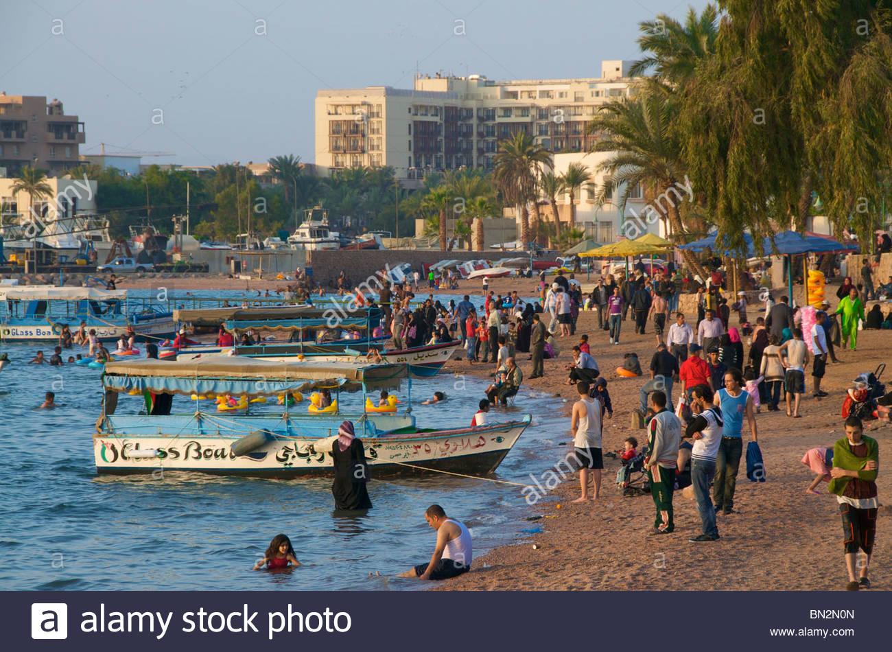 Under Stairs Public Beach Aqaba Jordan Stock Photo 30178533 Alamy