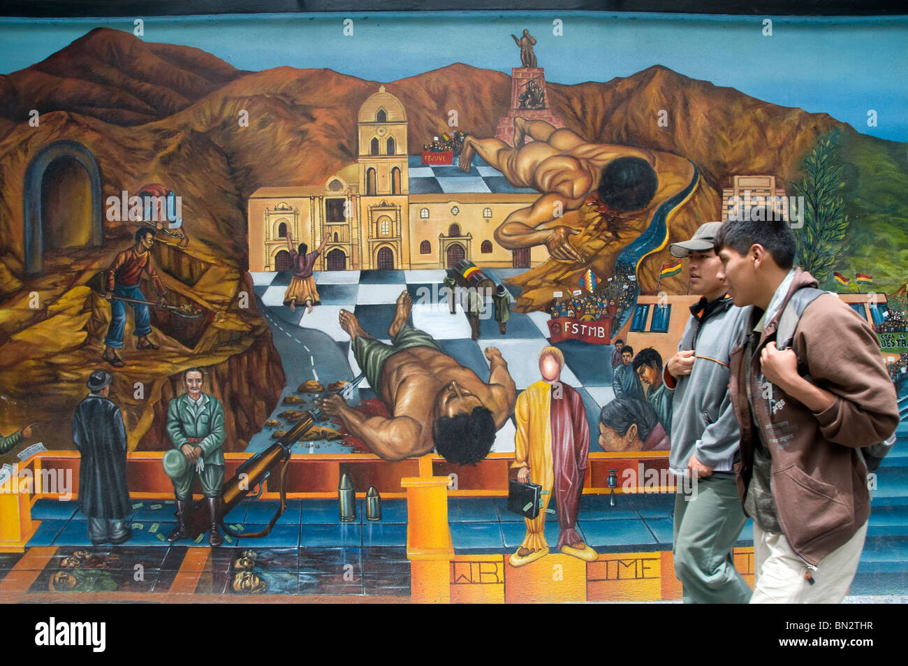 La paz mural showing the history of bolivia stock photo for Mural history