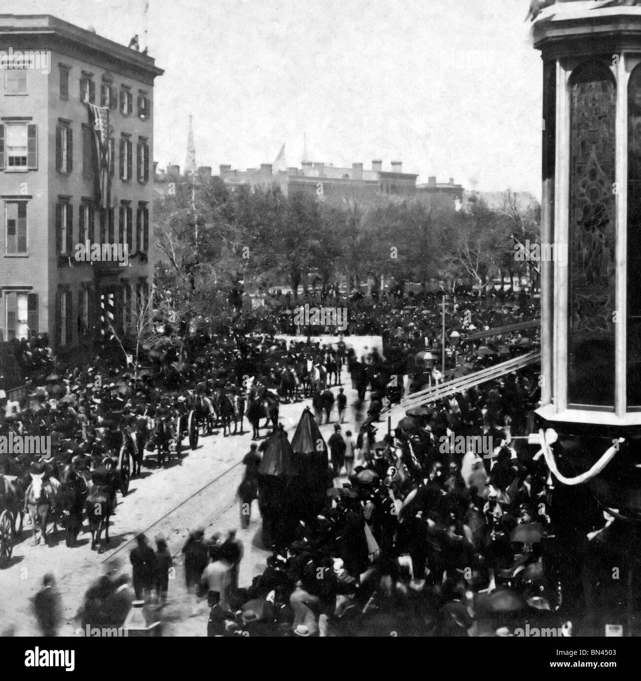 Horse drawn carriages in lincoln s funeral procession on broadway proceeding toward union square new york