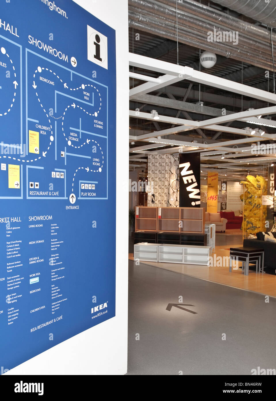 Entrance Of Ikea Nottingham, The Swedish Retail Furniture Shop. Showroom  And Markethall Map Plan