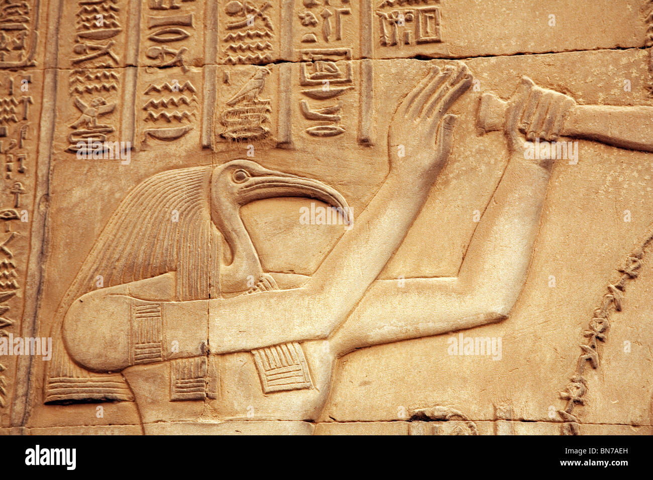 Bas relief alabaster carving of the god thoth