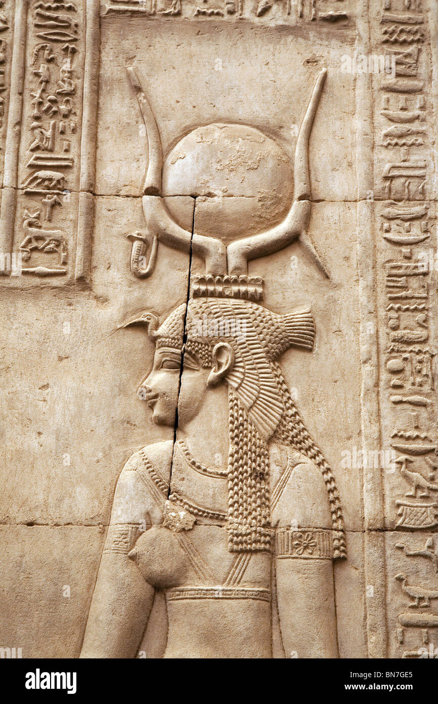 Bas relief alabaster carving of the goddess isis at
