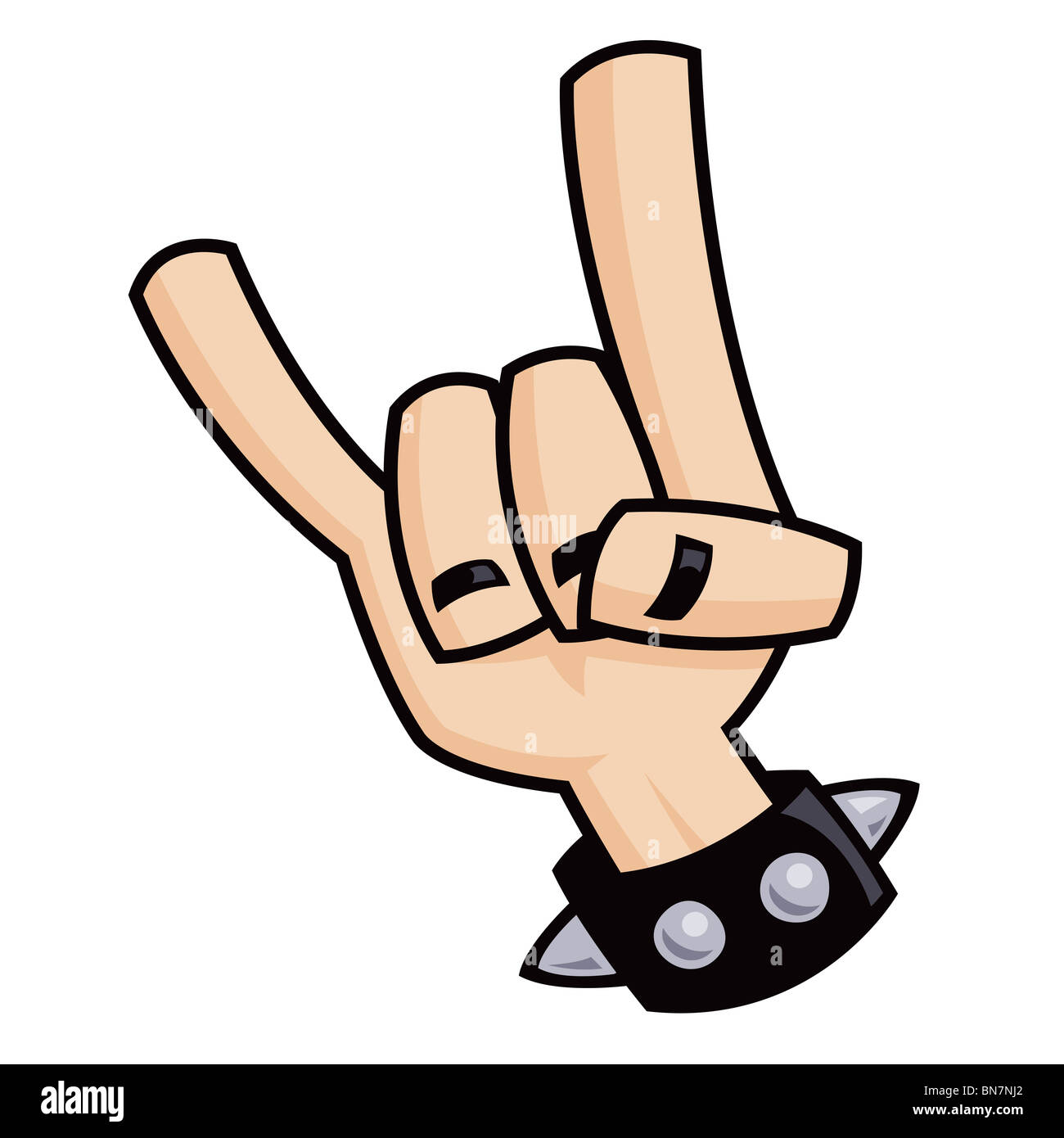 Heavy metal rock and roll devil horns hand sign with a black heavy metal rock and roll devil horns hand sign with a black leather studded bracelet buycottarizona